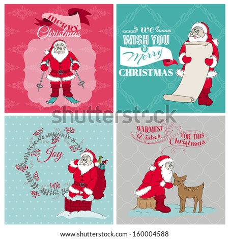 Santa Claus Christmas Cards - for design and scrapbook - in vector - stock vector
