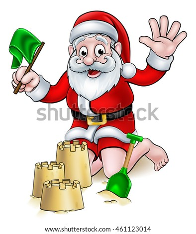 Santa Claus Christmas cartoon with Santa playing on a tropical beach making sandcastles