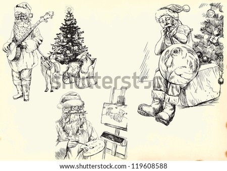 Santa Claus collection. Description: Vector hand drawn illustrations. Collection of drawings (each on a separate layer) on vintage paper in yellow color (the paper is separated in the lower layer). - stock vector