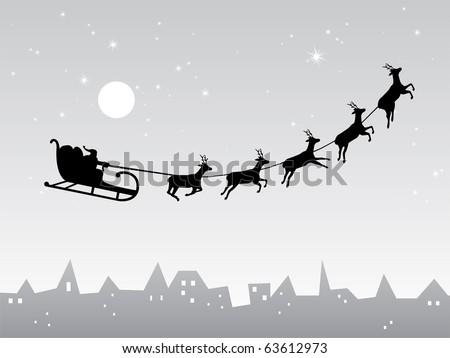Santa Claus comes to city - stock vector