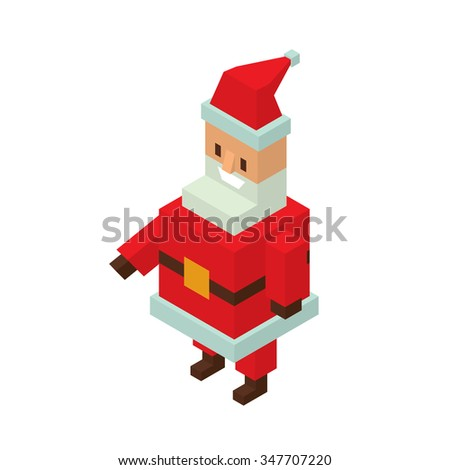 Santa Claus 3d isometric vector illustration. Santa Claus cartoon old man with red hat and sack. Santa Claus traditional costume. Santa Claus 3d isometric. Santa Claus red hat. Santa claus isolated - stock vector