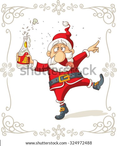 Santa Claus Dancing and Drinking Vector Cartoon - Drunk Claus holding a champagne bottle. File type: vector EPS AI8 compatible. No transparencies, only compatible gradients.  - stock vector