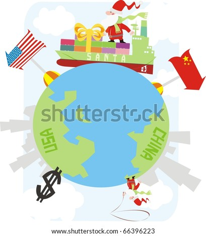 Santa Claus delivering gifts from China on a container vessel colorful vector illustration