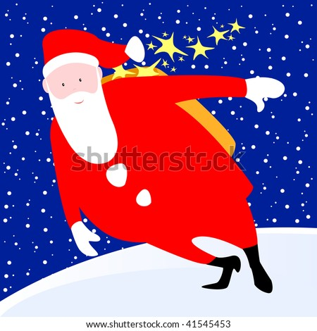 Santa Claus delivers gifts, vector