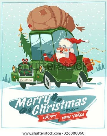 Santa Claus drives an old car. Christmas greeting card \ background \ poster. Vector illustration. - stock vector