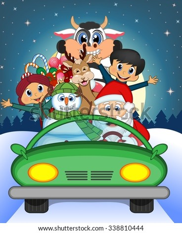 Santa Claus Driving a Green Car Along With Reindeer, Snowman, Children, and Full Moon At Night Brings Many Gifts Vector Illustration - stock vector