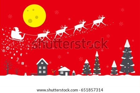 Santa Claus driving car with deer, Christmas poster