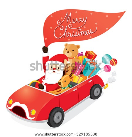 Santa Claus Driving Car With Reindeer, Merry Christmas, Xmas, Happy New Year, Objects, Animals, Festive, Celebrations