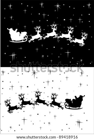 Santa Claus driving in a sledge - stock vector