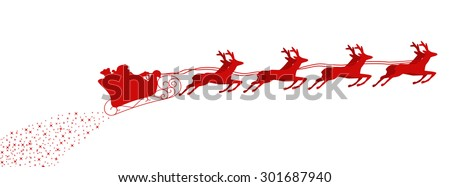 Santa Claus driving in a sledge with stars - stock vector