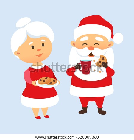 Santa Claus Eating A Cookies And Drinking Milk With His Wife Mrs Treat