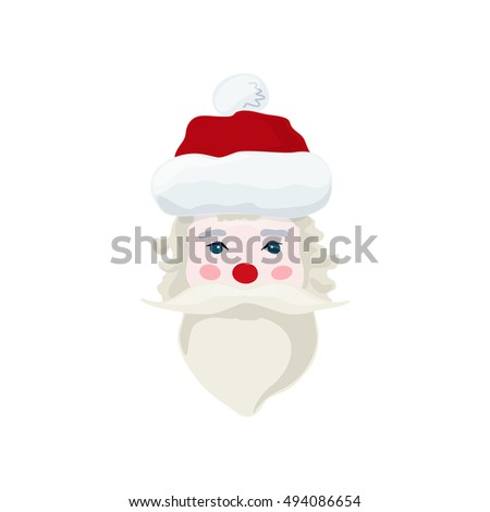 Santa Claus Face, Merry Christmas and Happy New Year Isolated on White Background , Vector Illustration