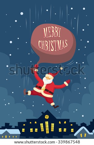 Santa Claus Fall Down Fly Sky Roof Top House Red Bag Gift Box Present Copy Space Happy New Year Holiday and Merry Christmas Flat Retro Vector Illustration - stock vector