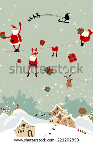 Santa Claus falling to the town in Christmas eve - stock vector