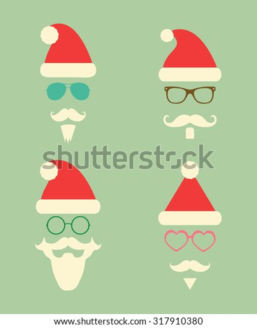 Santa Claus Fashion Colorful Silhouette Hipster Style Icons. Christmas Holidays Vector Illustration. Cute Hip Glasses - stock vector