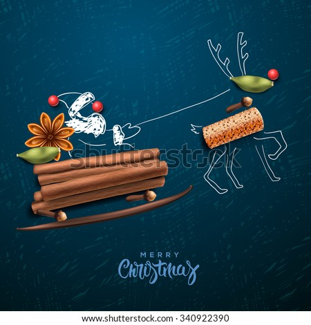 Santa Claus flying in a sleigh, Merry Christmas card, vector illustration. - stock vector