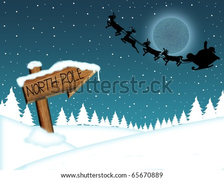 Santa Claus flying in front of the moon and wood sign with North Pole - stock vector