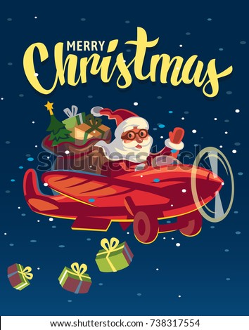 Santa Claus flying on airplane with presents. Vector flat