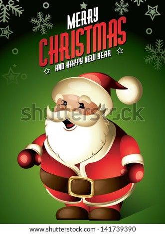 santa claus funny cute cartoon christmas character - stock vector