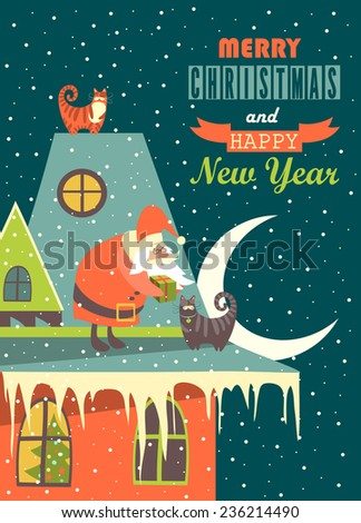Santa Claus gives Christmas gift to a cat.Vector Christmas greeting card - stock vector