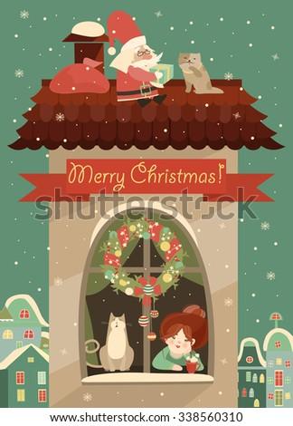 Santa Claus gives Christmas gift. Vector Christmas greeting card - stock vector