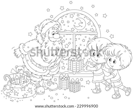 Santa Claus giving Christmas gifts to a little girl and a little boy - stock vector