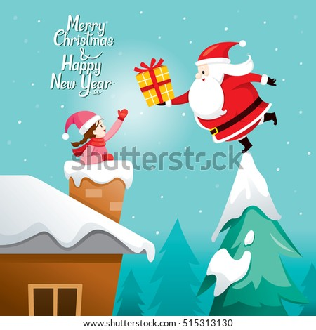 Santa Claus Giving Gift To Girl, Merry Christmas, Xmas, Happy New Year, Objects, Building, Festive, Celebrations