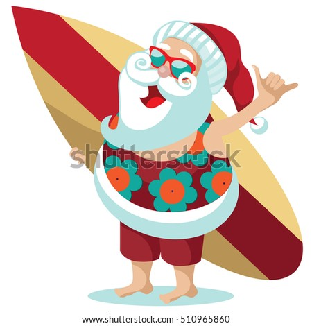 santa claus giving hang loose hand stock vector 2018 510965860 rh shutterstock com Santa Claus Clip Art surfing santa clipart free