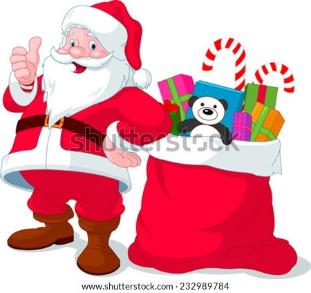 Santa Claus giving thumb up near sack full of gifts - stock vector