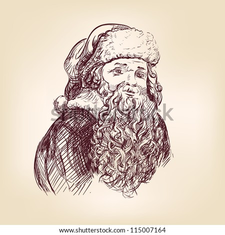 Santa Claus hand drawn vector llustration realistic sketch - stock vector