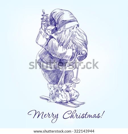 Santa Claus hand drawn vector llustration realistic sketch - stock vector