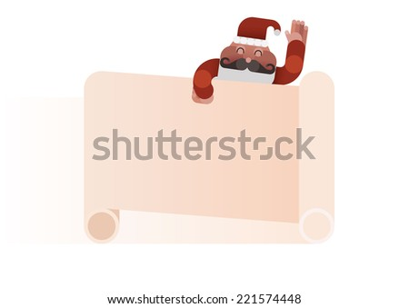 Santa claus hand up and sheet note write something by Christmas concept vector - stock vector