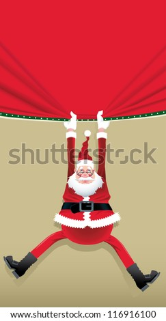 Santa Claus hanging from a red poster. - stock vector