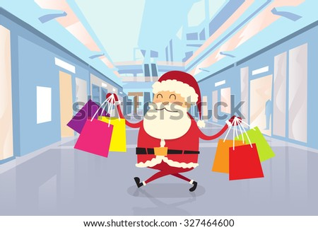 Santa Claus Happy Shopping Walking with Bags in Shop Mall Center Christmas Holiday Flat Vector Illustration - stock vector