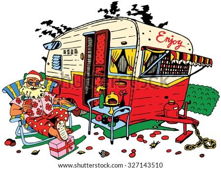 Happy Beer Drinking Camper Cartoon