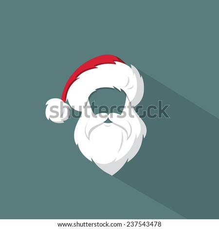 Santa Claus hat and beard template - vector illustration