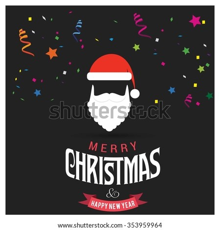Santa Claus hat Christmas decorative template Design, Christmas New Year Flat card illustration