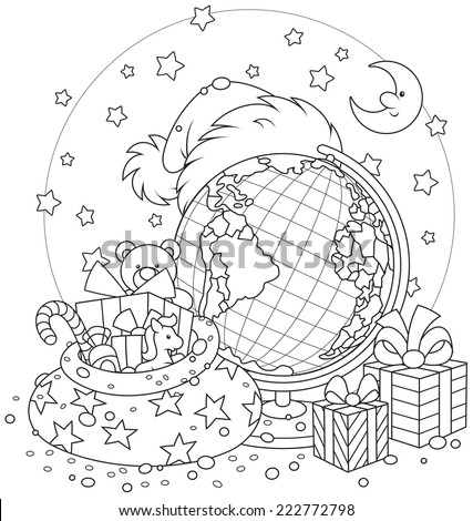 Santa Claus hat, Christmas gifts, globe and moon with stars - stock vector