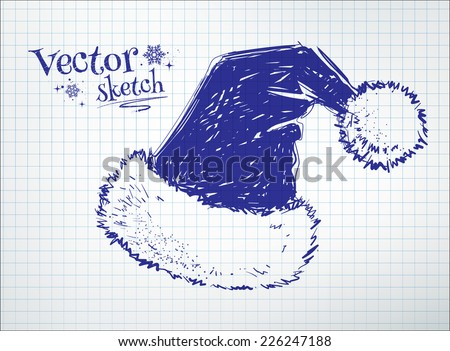Santa claus hat drawn on checkered paper. Vector illustration. isolated. - stock vector