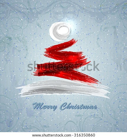 Santa Claus hat in the shape of a festive Christmas tree - stock vector