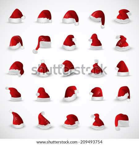 Santa Claus Hat - Isolated On Gray Background - Vector Illustration, Graphic Design Editable For Your Design