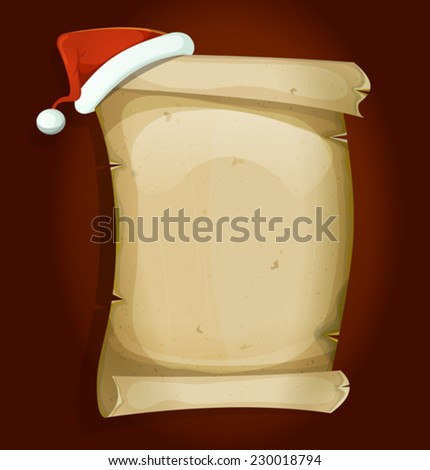 Santa Claus Hat On Old Parchment Scroll/ Illustration of a cartoon red santa claus hat settled on old parchment scroll sign for gifts list and merry christmas holidays celebration - stock vector