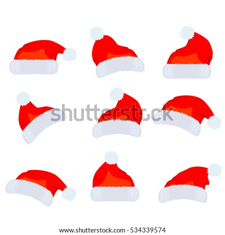 Santa Claus hat. Vector set on a white background