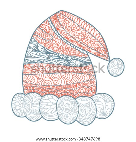 Santa Claus hat, zendoodle design element. Template greeting card, invitations, and for any other kind of design flyers, posters holiday, coloring books - vector illustration - stock vector
