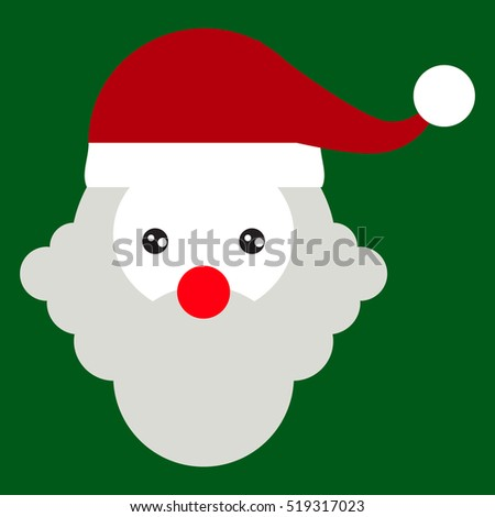 Santa claus head icon isolated on green. Christmas card template.vector illustration graphic