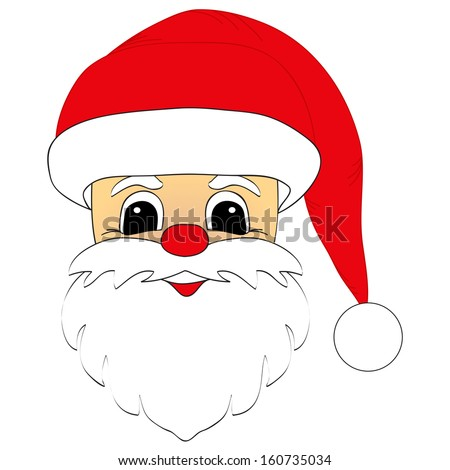 Santa Claus head isolated. Vector - stock vector