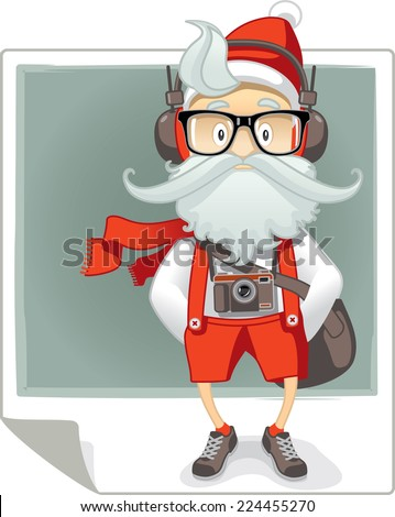 Santa Claus Hipster Style Cartoon - Vector cartoon of Santa Claus in stylish hipster outfit with eyeglasses, photo camera and headphones. File type: vector EPS AI8 compatible.  - stock vector