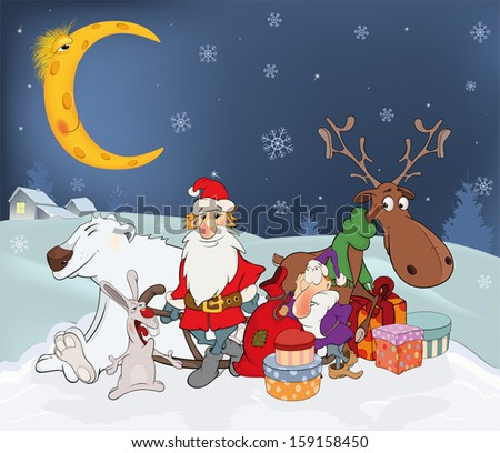 Santa Claus his friends and Christmas gifts. Cartoon  - stock vector