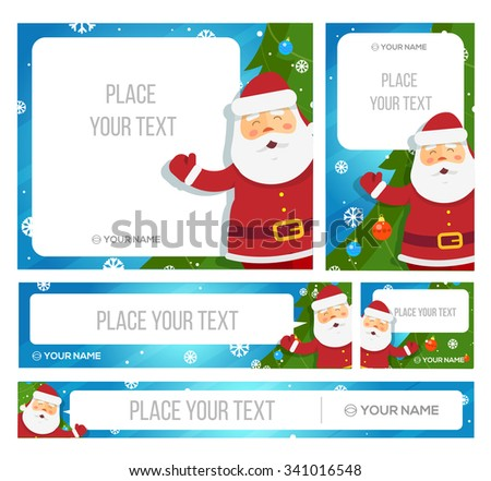Santa Claus hold banner with Christmas greetings. Vector Eps 10 - stock vector