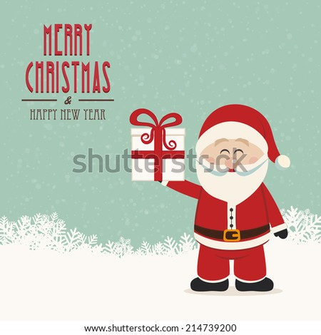 santa claus hold christmas gift snowy background - stock vector